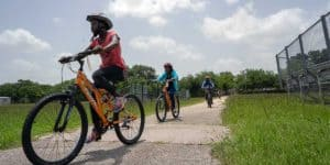 Learning to ride safely was one of the goals at the Freewheels Bike Camp.